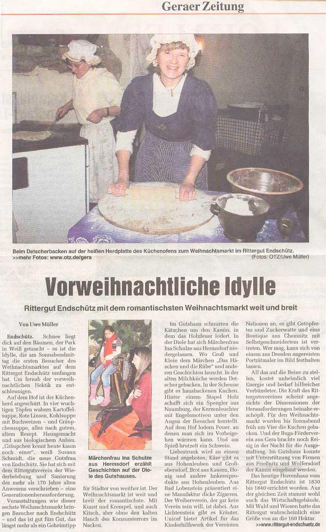 Zeitungsartikel zum Weihnachtsmarkt 2008